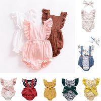 INS Baby Girl Romper Verano Escalada Romper 100% algodón trasero Hollow Out Ruffles Romper Chica Niños Niños Rímeres de verano 0-2T Ropa para niños