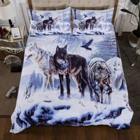 Wolves In Snow Printed Bedding Suit Quilt Cover 3 Pics Duvet...