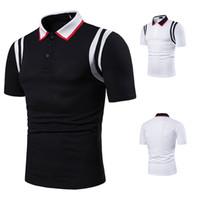 Yeni Casual Erkek Polo Gömlek Erkek Kısa Kollu Erkekler İçin Gömlek Erkek Marka Giyim Erkek Çizgili Erkek Yaka Boyun Polos S-2XL J190716