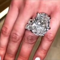 Nouveau Couple de bijoux vintage pétillant Bagues 925 Sterling Sterling Big Ovale Topaz CZ Diamond Femmes Bague de mariage