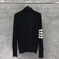2020 TB Mode Chandails Black Men Slim rayé à col roulé Pull-overs Vêtements Laine printemps et en automne Manteau Casual