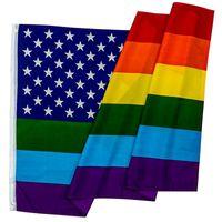 Partei kennzeichnet amerikanische Regenbogen-Flaggen-Polyester-Fahne buntes 90 * 150 cm-Dekorations-Abnutzungs-beständige kreative Mode 15lj F1