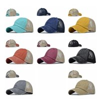 Gewaschen Pferdeschwanz Baseballmütze 14 Farben Frauen-Hysteresen-Vati-Hut Mesh Trucker Caps Messy Bun Sommerhut Adjustable Hip Hop Hüte OOA8137