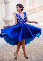 Royal Blue Breve Vestidos de fiesta de fiesta de encaje 2019 Hi-Lo Duración del té Profundo Cuello en V Backless Sexy Formal Formal Vestidos Vestidos de Festa Barato
