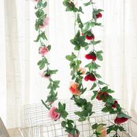 220cm falso vides 16Pcs Rose de seda cabeza colgar de la pared roja rota flores artificiales vid / Ivy con hojas verdes