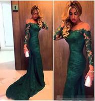 Custom Made 2019 Dark Green Sirène Dentelle Robes de soirée à manches longues Femmes Robes de promo