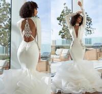 2019 Elegante arabisch Dubai Nixe-Abschlussball-Kleid-reizvolle lange tiefer V-Ausschnitt mit langen Ärmeln abgestuftes Organza-Open Back Kleider Abendgarderobe formale Kleider
