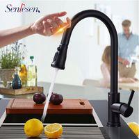 Senlesen Lead-Livre de aço inoxidável pull sensor torneira de cozinha sensível toque controle torneira mixer touch sensor cozinha torneira