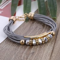 Hesiod grey color multi- layer chain beads charm bracelets pu...