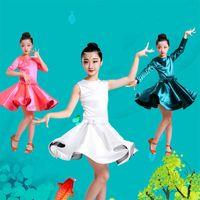 Vente en gros-Kid Fille Robe de danse latine GREEN manches longues enfants Stage Show Vêtements Ballroom Party Dancewear Costumes de pratique de danse