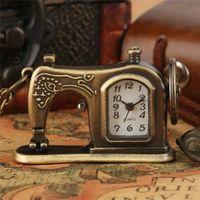 Античная Бронзовая Швейная Машина Дизайн Карманные Часы Кварцевые Аналоговые Ожерелье Цепные Часы для Женщин Мужчин Подарок