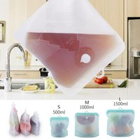 Дата Силиконовая еда свежий мешок 500 мл 1000 мл 1500 мл консервация продуктов питания сумка для хранения многоразовый морозильник закуски сумки OOA8108