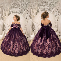 Grape Flower Girl Dresses Short Sleeve Lace Sequins With Big...