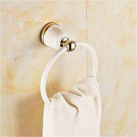 Modernt badrumshanddukshållare Europa stil Vit Bakning Målning Pläterad Guld Kopparhandduk Ringar Badrum Tillbehör