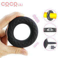 Anello del pene Vibratori in silicone Cock Ring ritardare l'eiaculazione erezione vibrazione Ring Lock pene Long Lasting giocattolo del sesso erotico per gli uomini