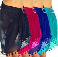 5Colors Beach Cover Ups Tassel Wrap Kjol Bikinis Baddräkt Kvinna Badkläder Kvinnor Solid Pareo Sommarstrand Wear Sarongs GGA3372
