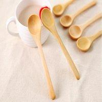 الطفل طويل الخشب ملعقة الطفل التغذية الآمنة ملاعق المنزل العسل القهوة مهلبية الشاي ملعقة البيئية الخشب العشاء الإبداعية أطباق WY93Q