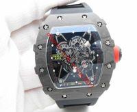Hommes Luxe Top Qualité Watch RM035-02 ZF usine japonaise Miyota 8215 Mouvement automatique Noir High End Carbon Case HORLOGERIE Forged