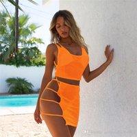 Moda Kadın Yaz Mayo Tasarımcı 4PCS Setleri Seksi Kolsuz bikiniler Tasarımcı Net İplik Mayo Bikini