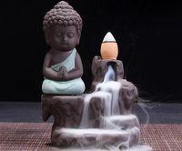 Keramische Rückfluss Räucherbrenner wenig Mönch Buddha Lotus Räucherstäbchen Kegel Stick Halter Kegel Weihrauch Buddhistische Tempel Decor DLH288
