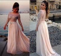 2021 Dolce rosa abiti da ballo Abiti a maniche lunghe in cristallo bordatura abiti da sera formale abiti da sera chiffon tessuto ragazze partito di laurea vestiti 2k17