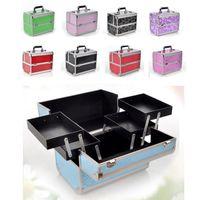 Aluminium Alloy Make Up Box Professional Makeup Beauty Cosmetic Bag Multi Tiers Lockable Jewelry Box Make Up Tools LJJR932