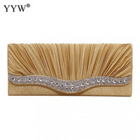 YYW Women Rhinestone Evening Clutch Satin Wedding Purse Gold...