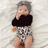 Enfant en bas âge bébé enfants fille noir manches longues barboteuse tops + pantalon court imprimé léopard 2 PCS tenues occasionnels nouveau à la mode