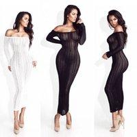 2017 femmes robe d'hiver Pull en maille Noir Pull Blanc Maille longue Stripe Slash Neck Party Vestidos