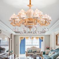 Novo design liga de zinco pingente luminária lustre de luzes com K9 cristal para sala de estar lustres cerâmica ouro pendurado europeus iluminação