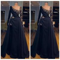 2021 совок шеи с длинными рукавами A-Line вечернее платья с бисером пользовательских черных выпускных вечеринок Платья специального случая халаты де-салазга