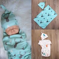Toddler bambini Neonate maschi vestiti stampa animale Coperta Morbido Dormire Swaddle Muslin Wrap Geometria Cappello 2 pz vestito di cotone