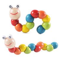 الملونة اللعب كاتربيلر خشبية الخشب دودة الملتوية دمية حيوانية 0-3 سنوات الأطفال اللغز القديم اللعب التعليم محول