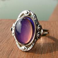 اللون تغيير الأحجار الكريمة خاتم المرأة خواتم الخطبة أصابع النحاس الأزياء المزاج الدائري تغيير الألوان سبيكة مجوهرات