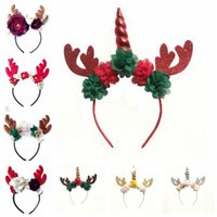 Partei-Haar-Sticks Kopfschmuck Weihnachtseinhornhair Deer Elk Horn Haar Hoops Ferien Blumen-Stirnband-Baby-Haar-Zusätze CZYQ6276