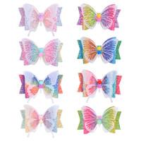 3.5 인치 반짝이 활 나비 헤어 클립 헤어핀 여자 그라데이션 무지개 색 헤어 핀 액세서리 모자 파티 해변 장식 8Colors의 D6408