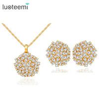 LUOTEEMI бренд класса люкс новая мода ясно CZ Кристалл свадьба цветок вырезать ожерелье серьги для женщин Принцесса комплект ювелирных изделий C18122701