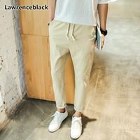 Pantalones de lino de los hombres Lawrenceblack 2018 de alta calidad de lino hasta los tobillos cosecharon los pantalones para hombre Casual Joggers Lápiz Pantalones 1130