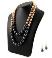 joyas de oro champagne y balck pendiente de la perla de lujo cáscara