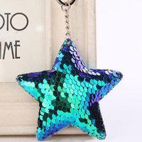Nettes Stern-Einhorn Keychain Glitter-Bommel-Pailletten-Schlüsselring-Geschenke für Frauen Llaveros Mujer bezaubert Autotaschen-Zusatz-Schlüsselkette c774