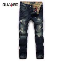 Quanbo Men Jeans Casual Denim Spodnie New Arrival Moda Patch Hole Traved Dżinsy Młodzieżowe Retro Nostalgia Proste Dżinsy