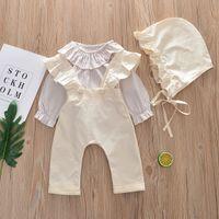 Nueva ropa de primavera para bebés, ropa para niños, tops de rayas, pantalones de liga, gorro y gorro 3pcs, niña, conjunto de bebés, niños, trajes 14467