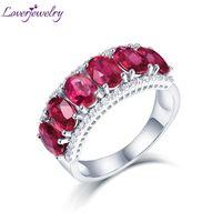Loverjewelry Genuine Mulher Anéis de Noivado Rubi Jóias Sólidos 14 k Ouro Branco Natural Diamante Rubi Vermelho Anel Clássico Senhora Jóias Y19052301