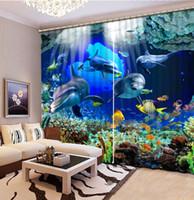 البحر المغمورة العالم الصيني مخصص 3d التعتيم الستار المعيشة غرفة نوم فندق نافذة الستائر
