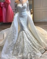 2019 New Sexy Mermaid Wedding Dresses Sheer Jewel Neck Lace ...