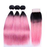 Silanda Hair Ombre Color 2 톤 #T 1B / Rose Pink Straight Remy 인간의 머리 위사 34x4 레이스 클로저가있는 3 개의 Weavin 번들 무료 배송