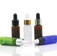 10ml / 15ml / 20ml botellas ámbar azul PET con vidrio con gotero Vacía recargable gotero botella de aceite esencial de la muestra de maquillaje Viales SN4397