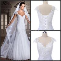 Novo imagem real nova chegada branca robe de noiva sexy strapless mermaid apliques miçangas volta vincular o vestido de noiva de noiva 2018