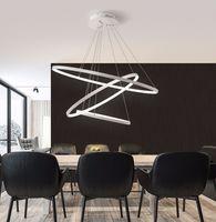Modern Circular Ring Pendant Lights 3/2/1 anelli cerchio anelli acrilico alluminio LED LED Lampada da soffitto Lampada da soffitto
