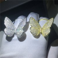 Vecalon Luxury Flying butterfly Ring 925 sterling silver Mir...